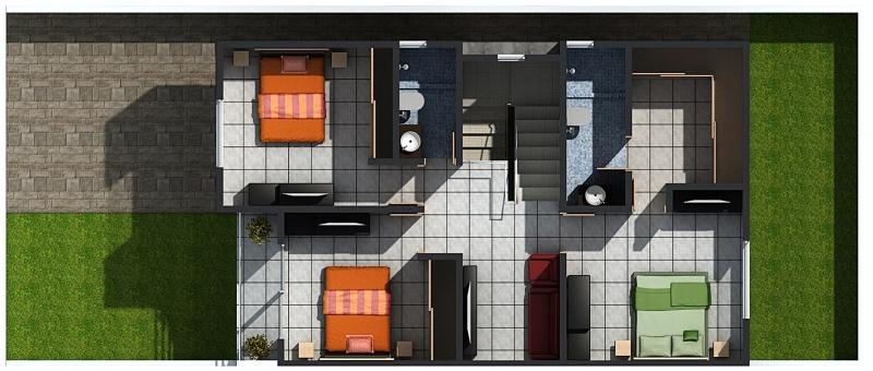 Planta Alta, Modelo Paris, Fraccionamiento Residencial Los Almendros