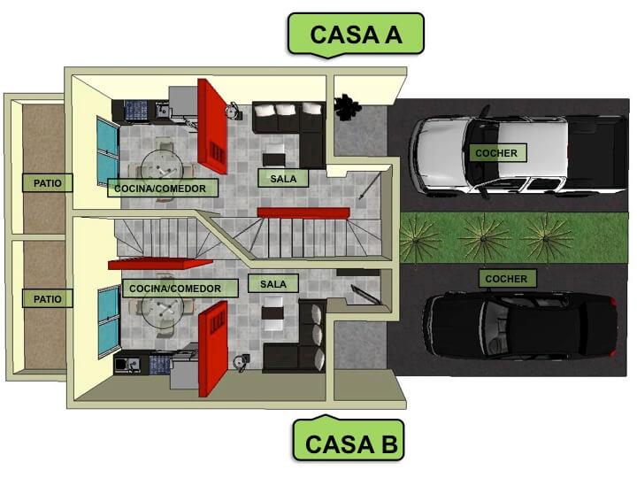 Planta Baja, Modelo Duplex, Fraccionamiento Lomas Verdes