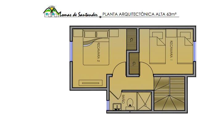 Planta Alta, Modelo 63, Fraccionamiento Lomas de Santander